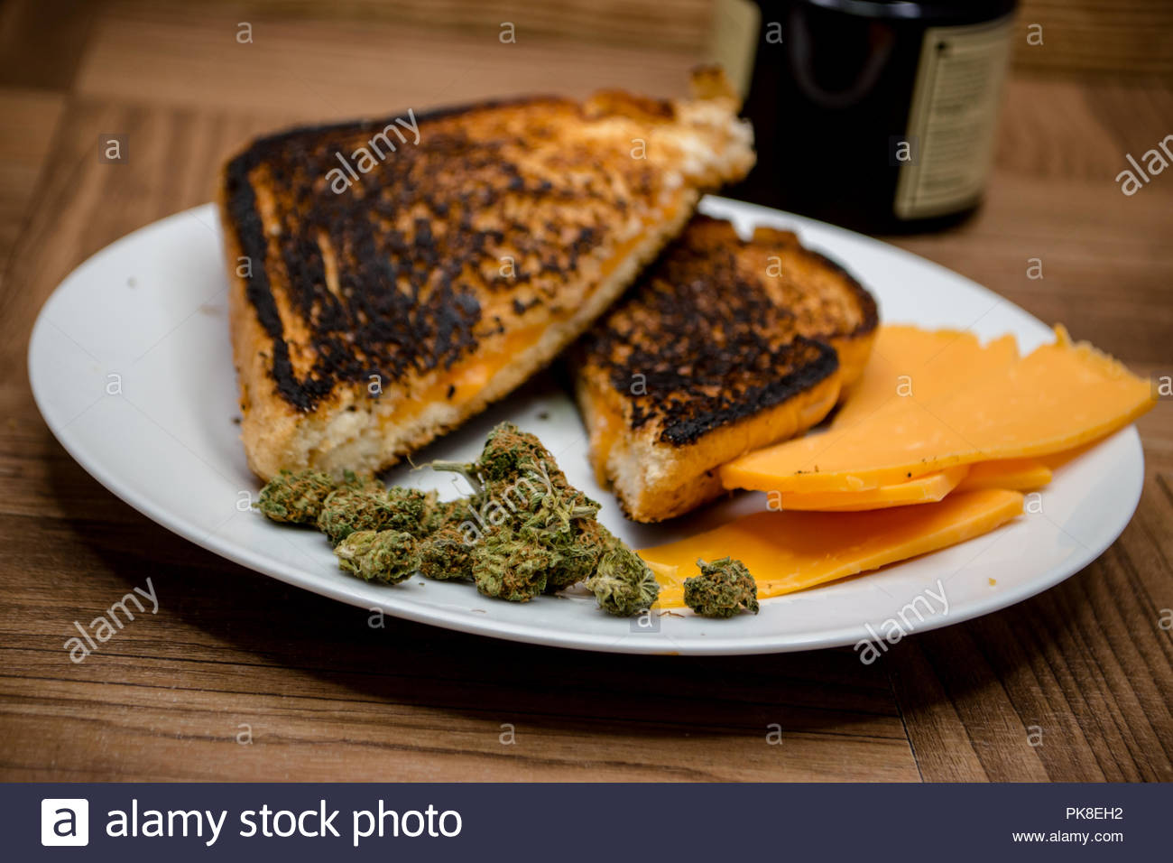 There are lots of chese strains of marijuana. This is a play on that. - Stock Image