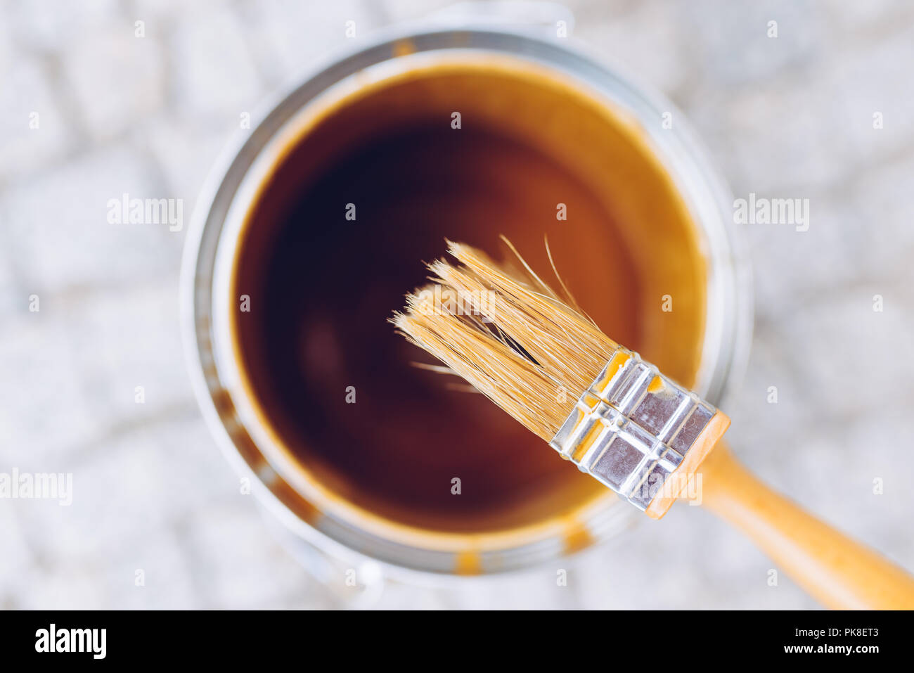 Paint brush on the can. Top view. House renovation, home improvement concept Stock Photo