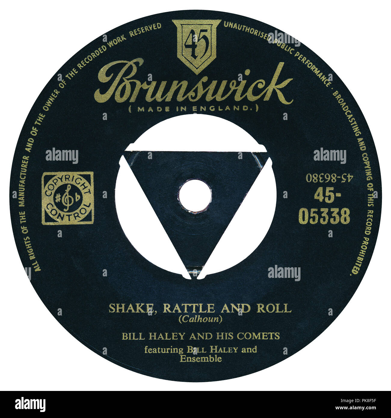 """UK 45 rpm 7"""" single of Shake, Rattle And Roll by Bill Haley And His Comets on the Brunswick label from 1954. Written by Jesse Stone under the pseudonym Charles E. Calhoun and produced by Milt Gabler. Stock Photo"""