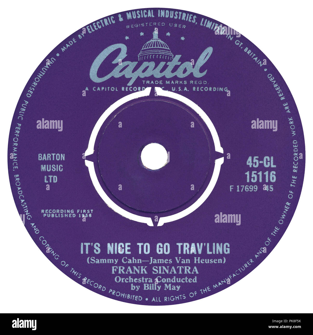 "UK 45 rpm 7"" single of It's Nice To Go Trav'ling by Frank Sinatra on the Capitol label from 1960 (although both tracks are from the 1958 LP Come Fly With Me.) Written by Sammy Cahn and Jimmy Van Heusen, produced by Voyle Gilmore and arranged by Billy May. Stock Photo"