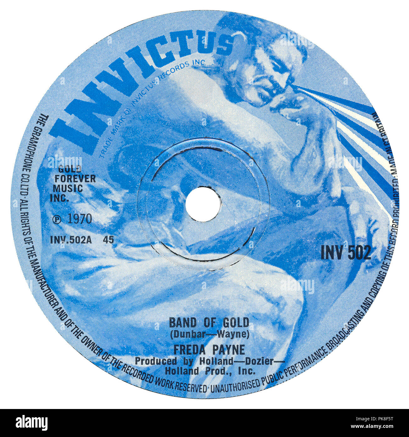 UK 45 rpm 7' single of Band Of Gold by Freda Payne on the Invictus label from 1970. Written by Ron Dunbar and 'Edythe Wayne' (a pseudonym for Holland-Dozier-Holland.) Produced by Brian Holland, Lamont Dozier and Eddie Holland. - Stock Image
