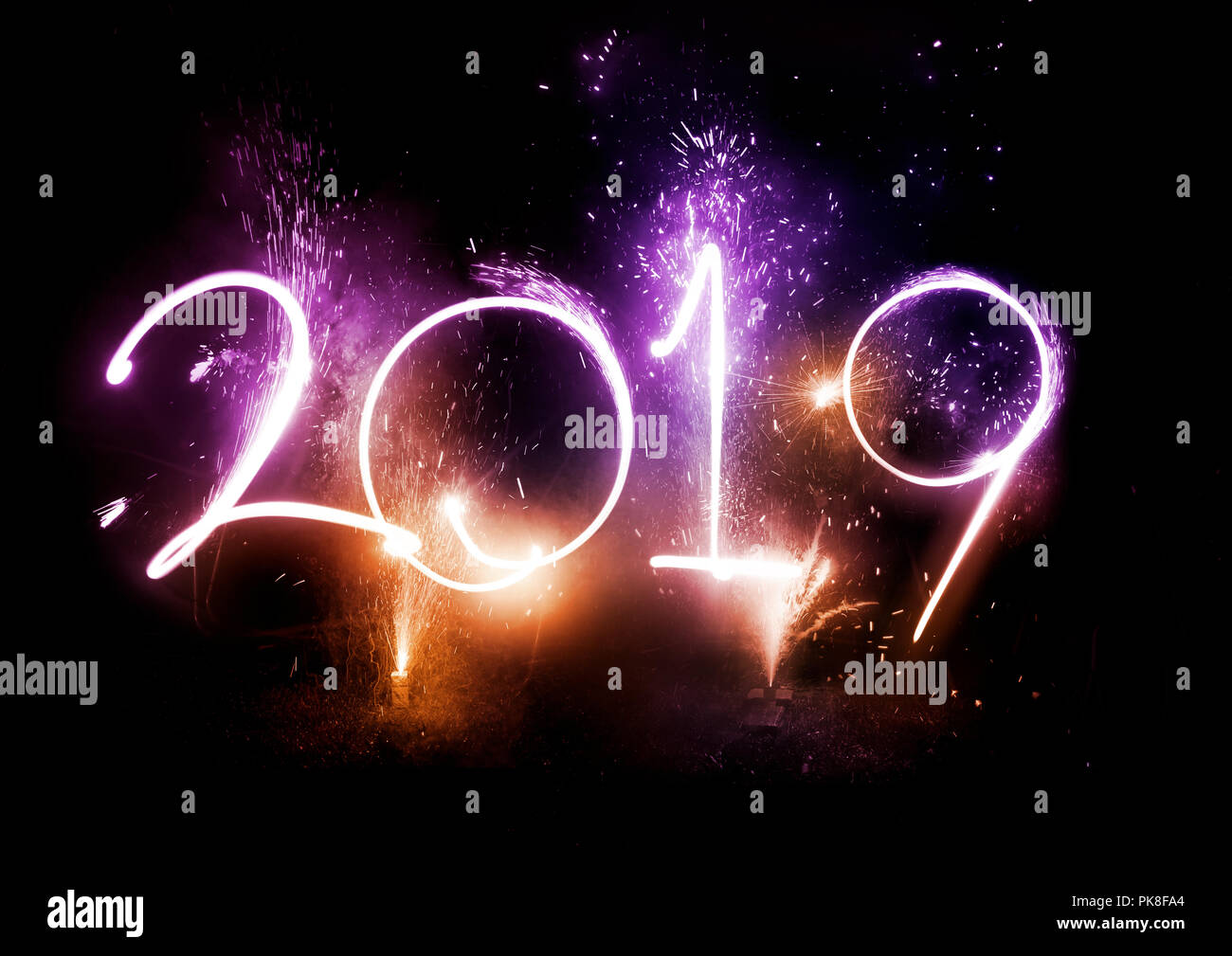 happy new year 2019 displayed with fireworks and strobes celebrations concept
