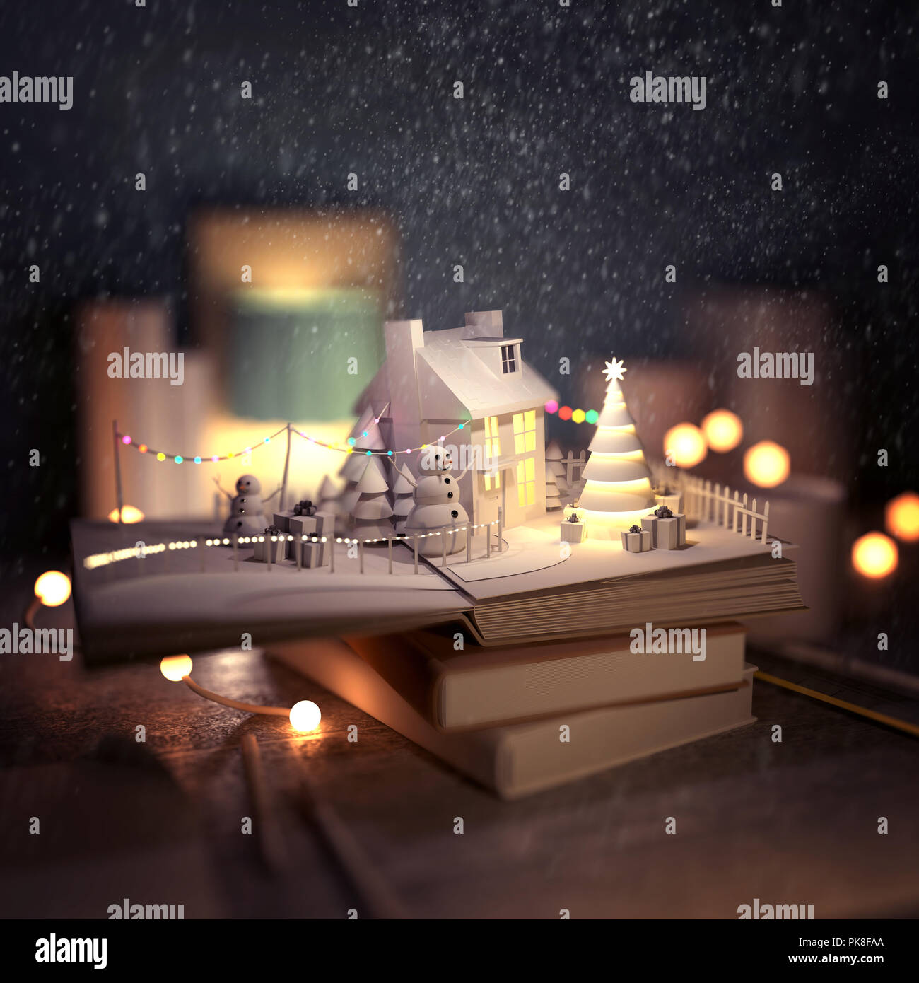 christmas story pop up book opening with a winter scene with a cosy house snowmen christmas trees and decorations 3d illustration