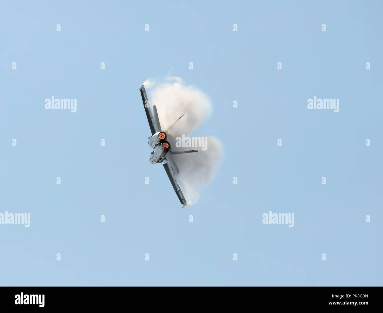 A Swiss Air Force McDonnell Douglas F/A-18C Hornet performing aerobatics at the Scottish International airshow - Stock Image