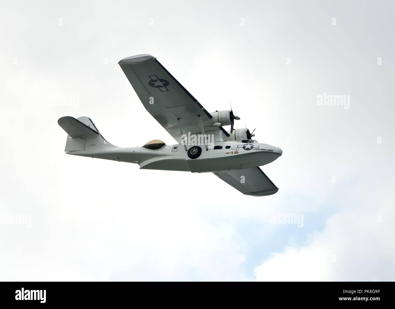 Consolidated PBY-5A Catalina in flight at the Scottish International Airshow in Ayr, Scotland, UK - Stock Image