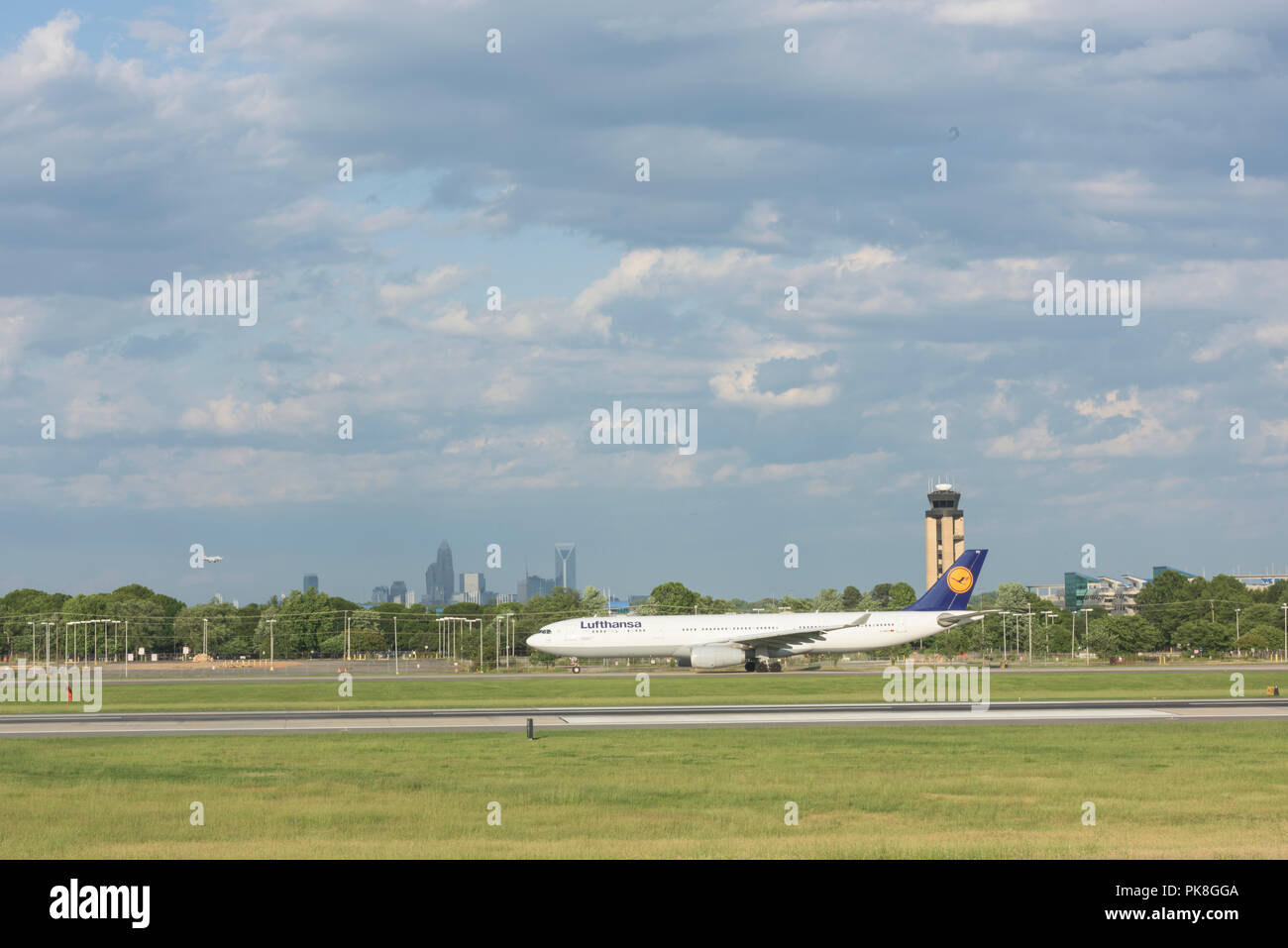 Charlotte, NC - May 14, 2017/USA - Commercial Airliner takes off at Charlotte-Douglas International Airport in Charlotte, NC - Stock Image