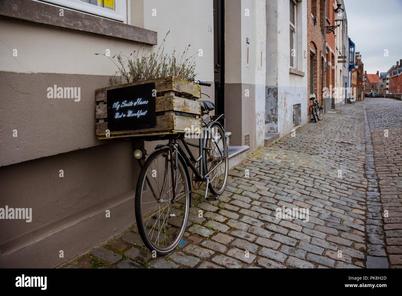 Bicycle at Bruges, Belgium - Stock Image