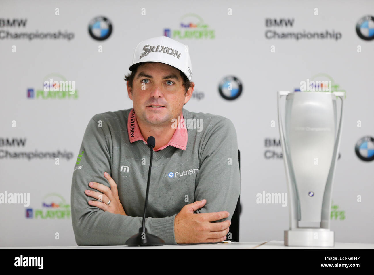 NEWTOWN SQUARE, PA- SEP 10: Keegan Bradley speaks to the media after winning the 2018 BMW Championship at Aronimink Golf Club. - Stock Image