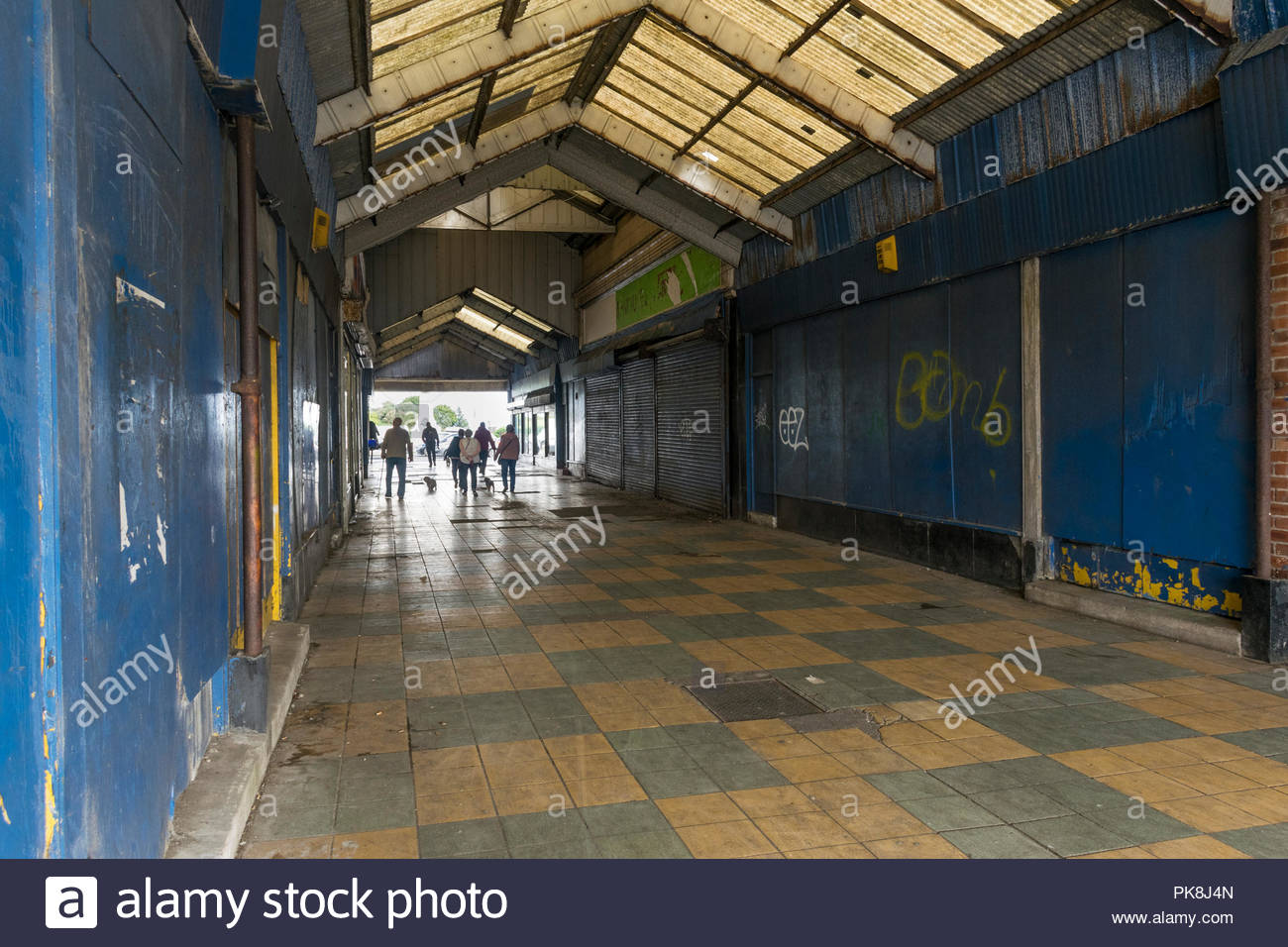 The run down arcade from the Promenade in Morecambe has seen better days - Stock Image