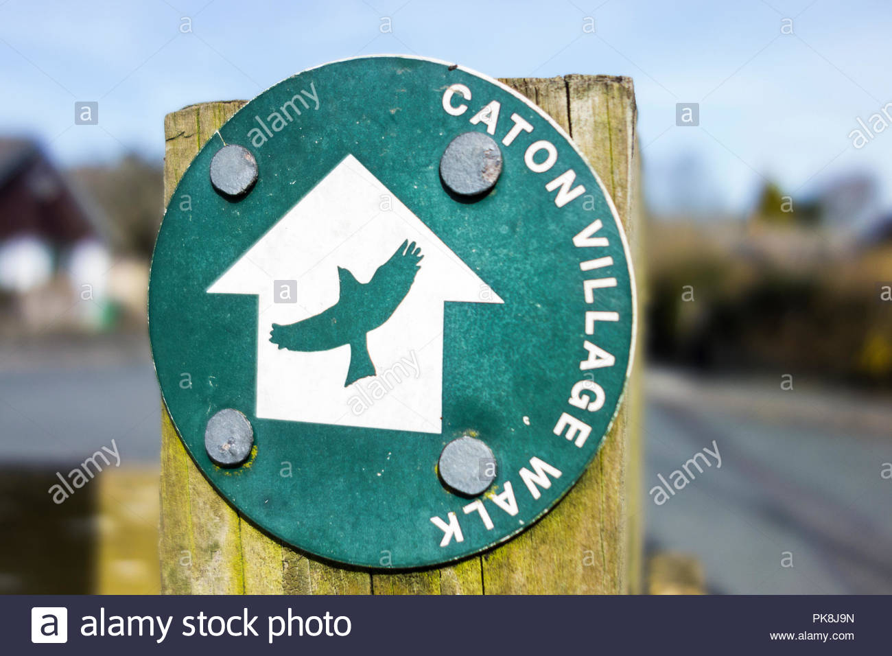 Footpath sign for the Caton Village Walk, near Lancaster, UK - Stock Image