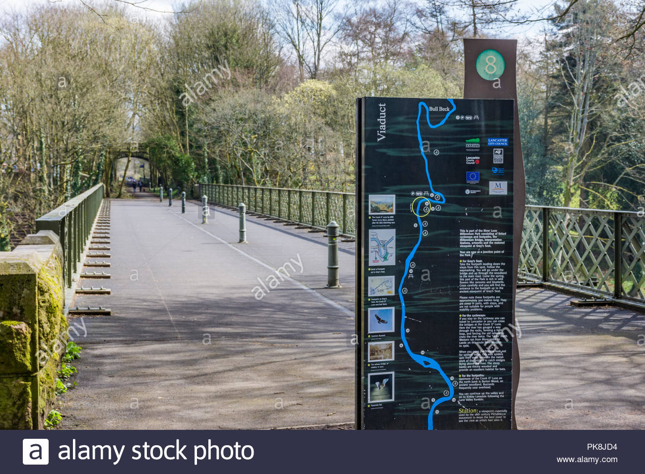 Sign on the River Lune Millenium Park at the Crook of Lune near Caton, Lancaster, UK - Stock Image