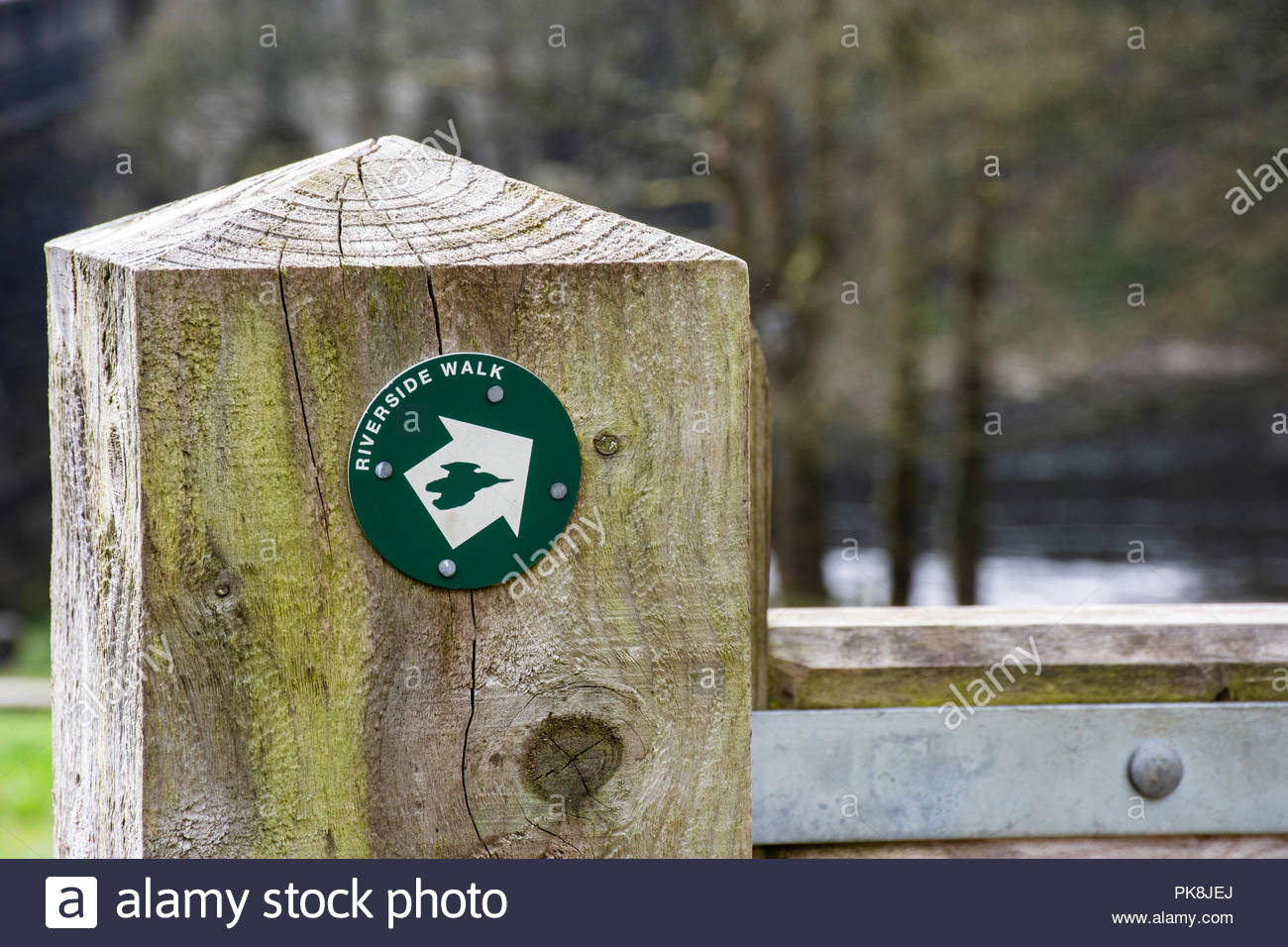 Sign for a Riverside Walk at the Crook of Lune near Lancaster, UK - Stock Image