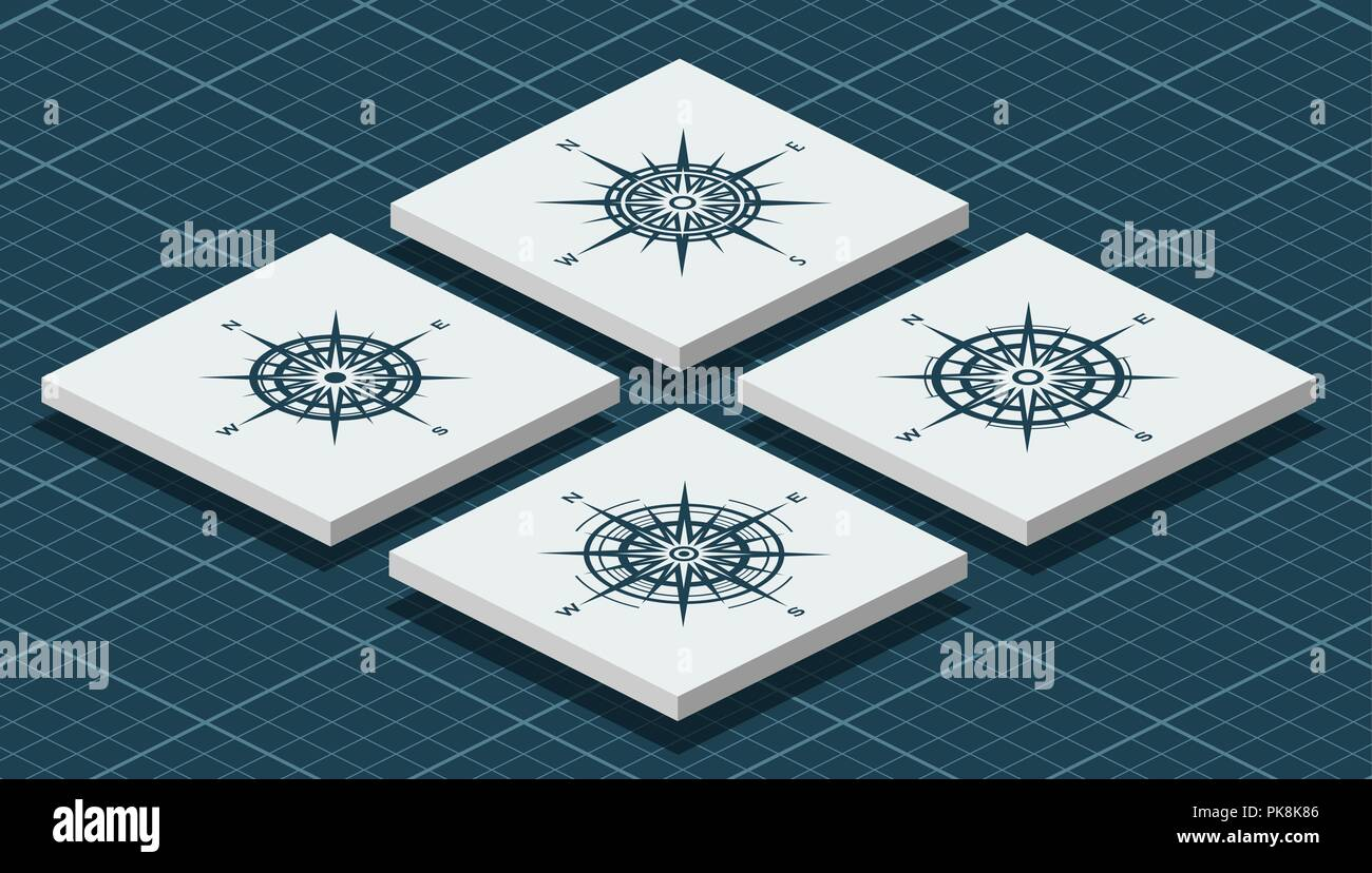 Set of isometric compass roses - Stock Image
