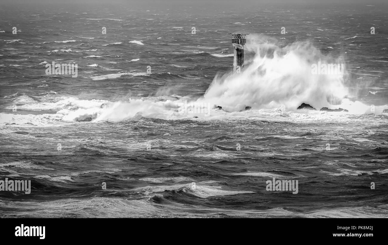 Storm Desmond, Longships Lighthouse, West Cornwall - Stock Image