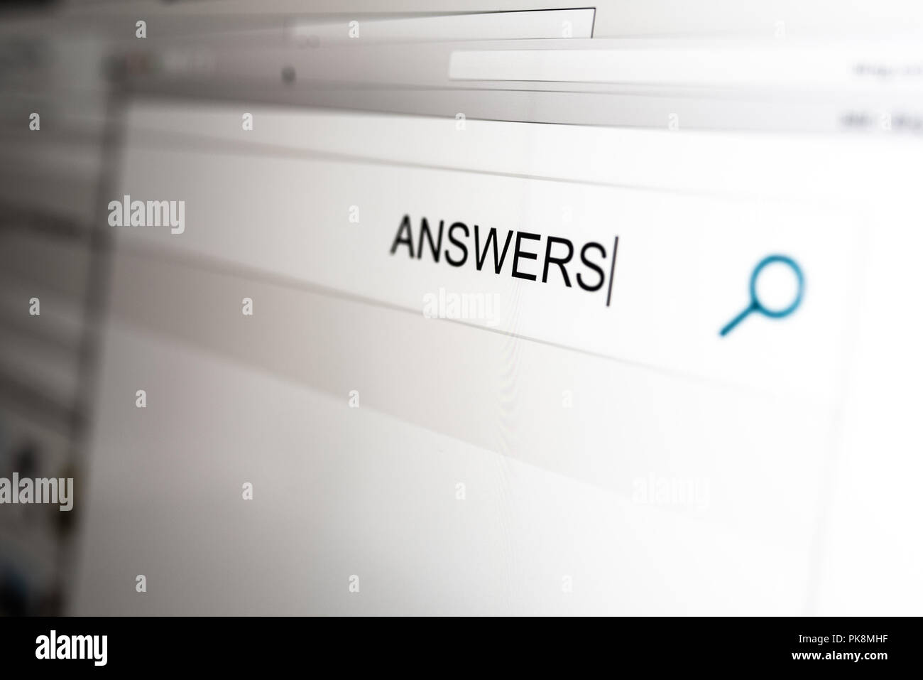 looking for answers concept with word answers in search bar of search engine - Stock Image