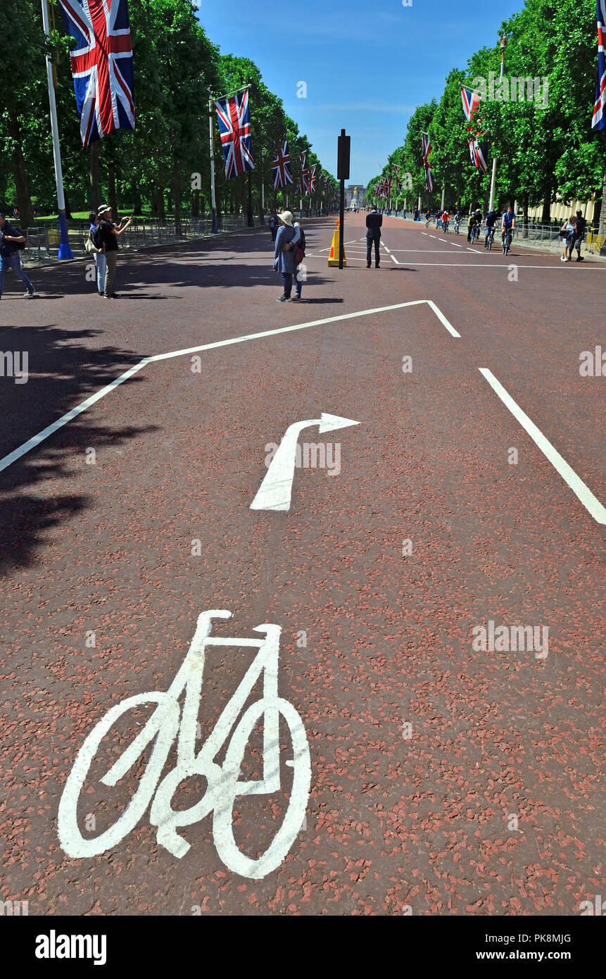 Cycle lane in the Mall, central London, England, UK. - Stock Image