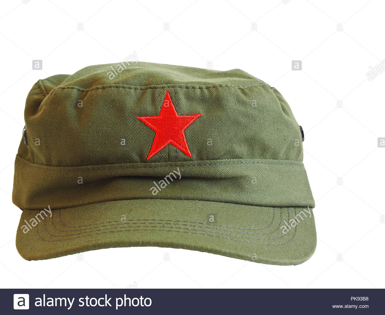 Close-up of green military cap with red star of China 67f9620cf848