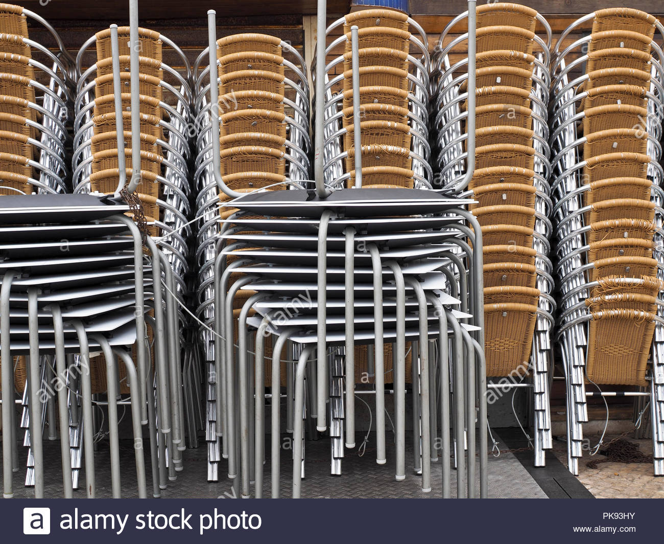 Merveilleux Stacked Tables And Chairs Stock Photo: 218403303   Alamy