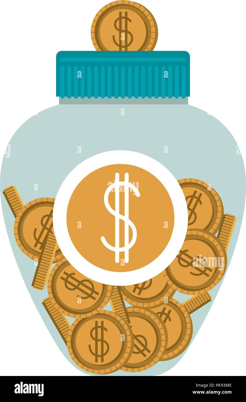jar with coins money Stock Vector