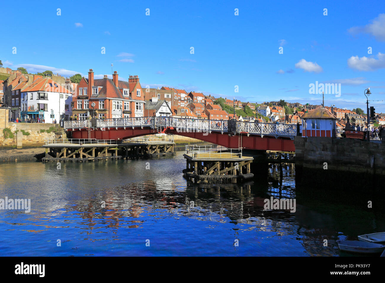 The Swing Bridge over the River Esk, Whitby, North Yorkshire, England, UK. - Stock Image