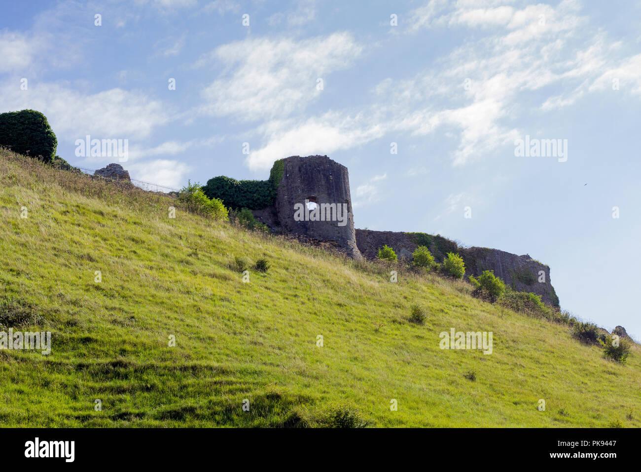 Corfe Castle, hilltop ruins seen from the public road below, September 2018, Dorset, UK - Stock Image