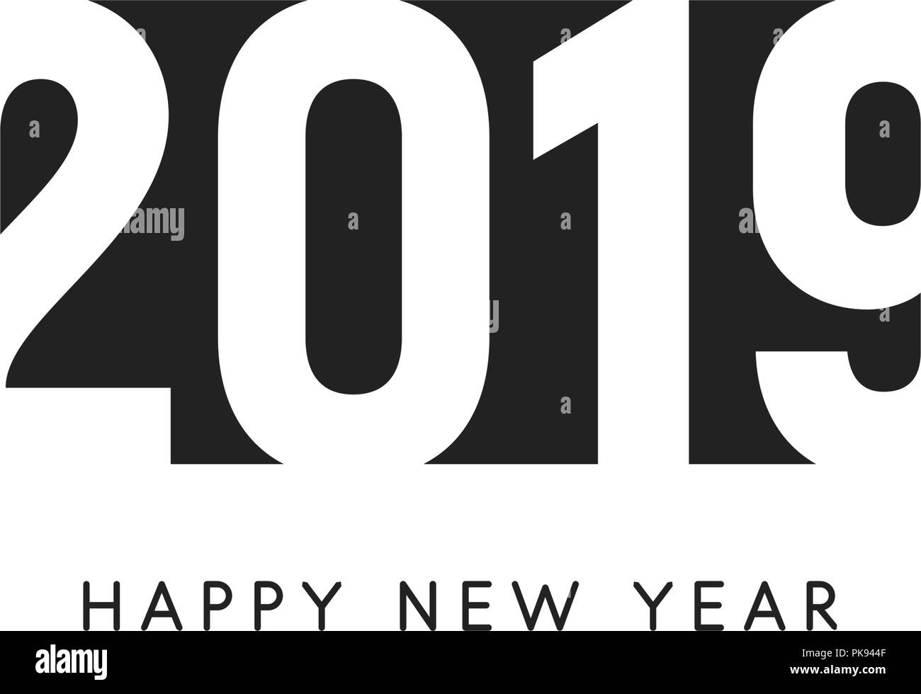 happy new 2019 year sign black negative space vector logo
