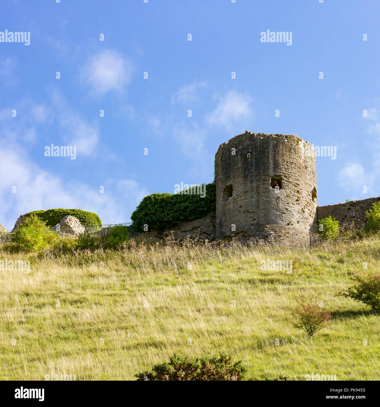 Corfe Castle, part of the castle ruins in square format, Dorset, UK - Stock Image