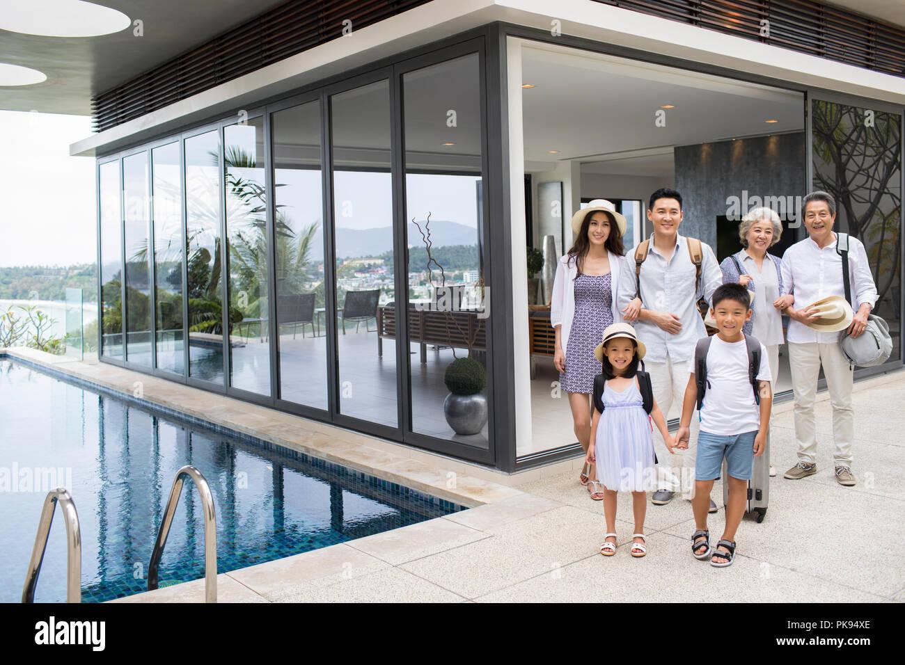 Happy family on vacation Stock Photo