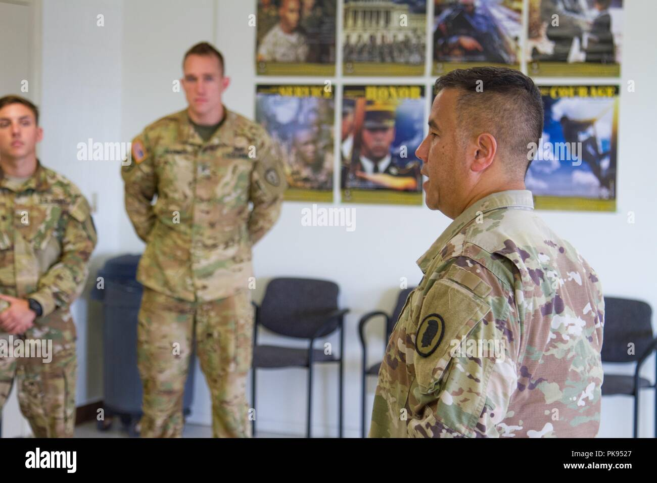 Brig. Gen. Kenneth Hara, Deputy Adjutant General, Hawaii Army National Guard and Joint Task Force 5-0 commander, lands at Hilo International Airport, Hilo, Hawaii, to conduct briefings to Hawaii National Guard and Active Duty Soldiers responding to Hurricane Lane on Aug. 27, 2018, August 27, 2018. Local authorities and the state of Hawaii, through JTF 5-0, requested HH-60M Black Hawk helicopters with hoist capability to assist local authorities with recovery operations on the Isle of Hawaii. JTF 5-0 is a joint task force led by a dual status commander that is established to respond to the effe - Stock Image