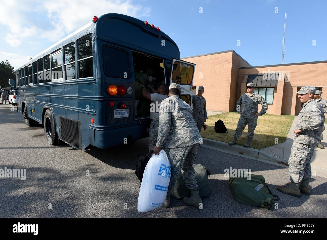 U.S. Airmen from the South Carolina Air National Guard and 169th Fighter Wing, prepare to deploy from McEntire Joint National Guard Base to Bluffton, South Carolina, to support partnered civilian agencies and safeguard the citizens of the state in advance of Hurricane Florence, September 10, 2018, September 10, 2018. Approximately 800 South Carolina National Guard Soldiers and Airmen have been mobilized to prepare, respond and participate in recovery efforts as forecasters project Hurricane Florence will increase in strength with potential to be a Category 4 storm and a projected path to make  - Stock Image