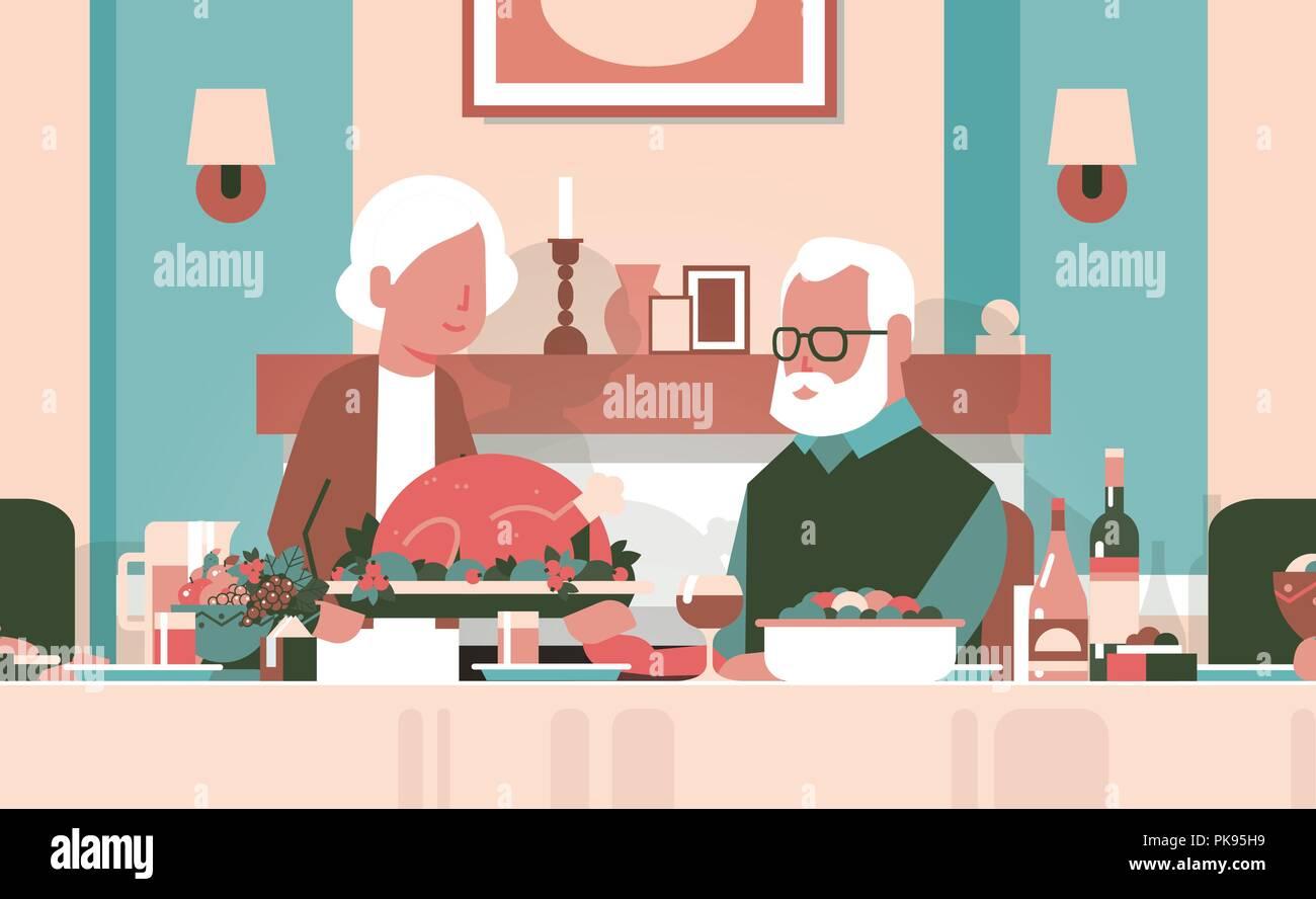 happy thanksgiving elderly couple sitting table celebrating thanks day holiday traditional turkey dinner concept grandmother grandfather cartoon seniors autumn feast horizontal flat - Stock Vector