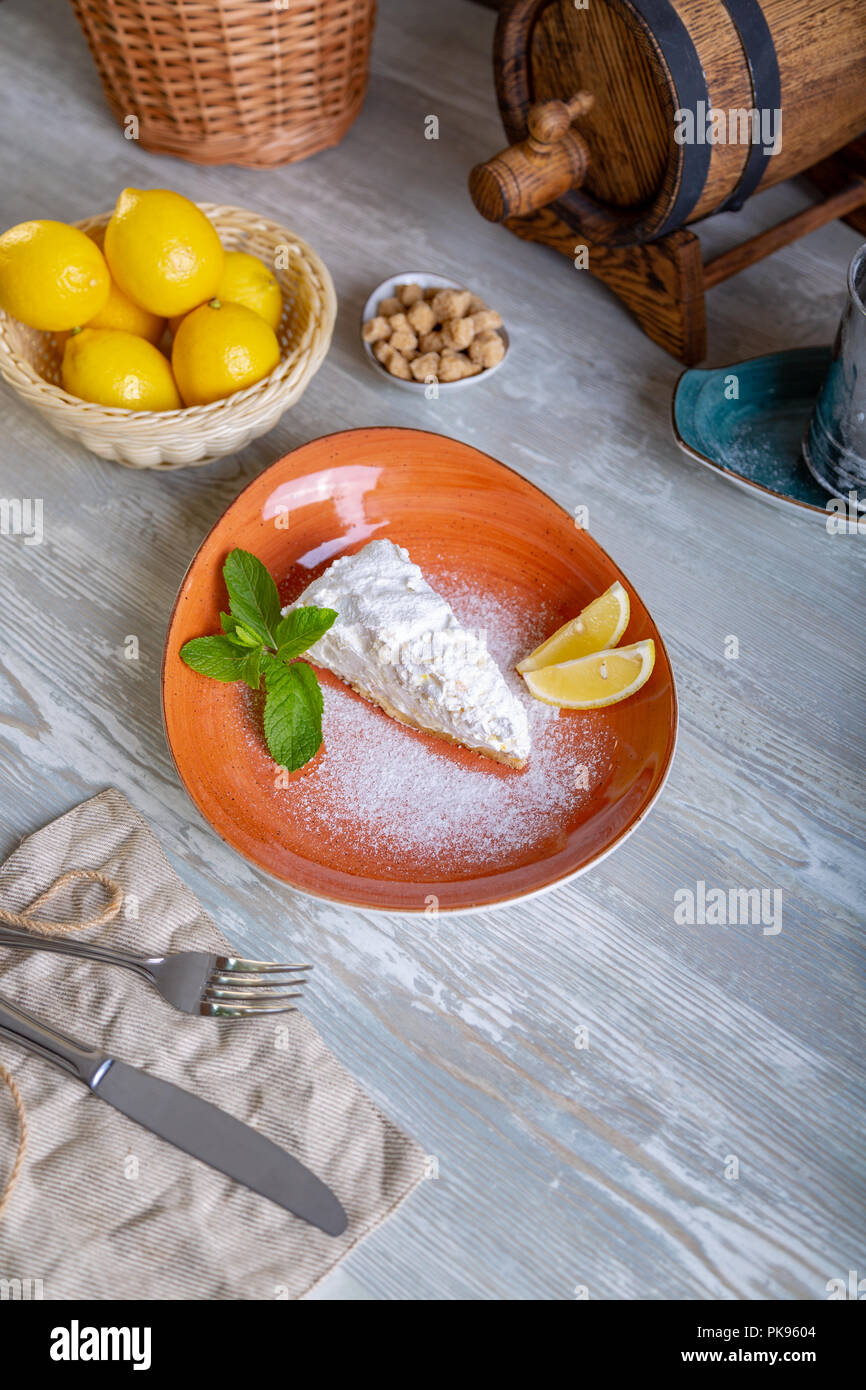 Close up view of beautiful elegant sweet dessert served on the plate. Beautiful decoration, restaurant dish, ready to eat. Tea time, cozy atmosphere. Stock Photo