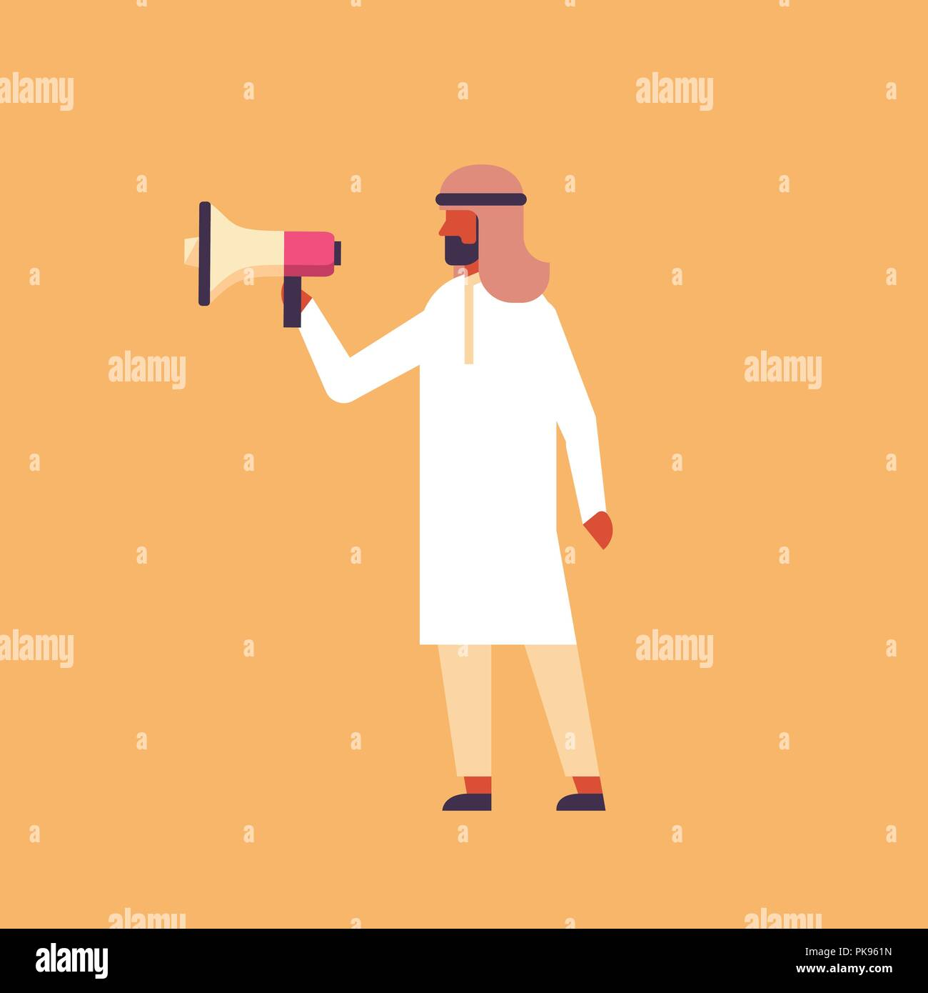 arabic businessman holding megaphone announcement concept arab man speaker information advertising loudspeaker leadership cartoon character flat full length - Stock Image