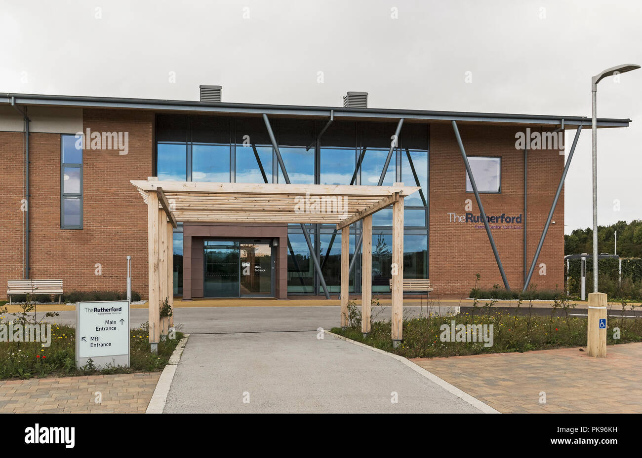 The Rutherford Cancer Centre at Bomarsund, Bedlington, Northumberland, UK is to offer pioneering cancer treatments including high energy proton beam.. - Stock Image