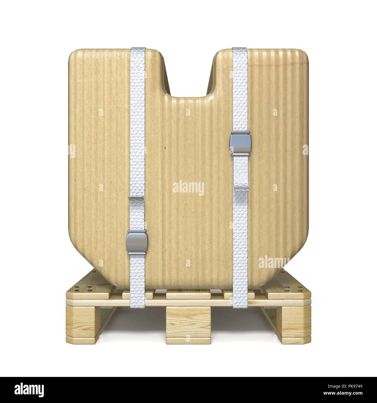 Cardboard box font Letter V on wooden pallet 3D render illustration isolated on white background