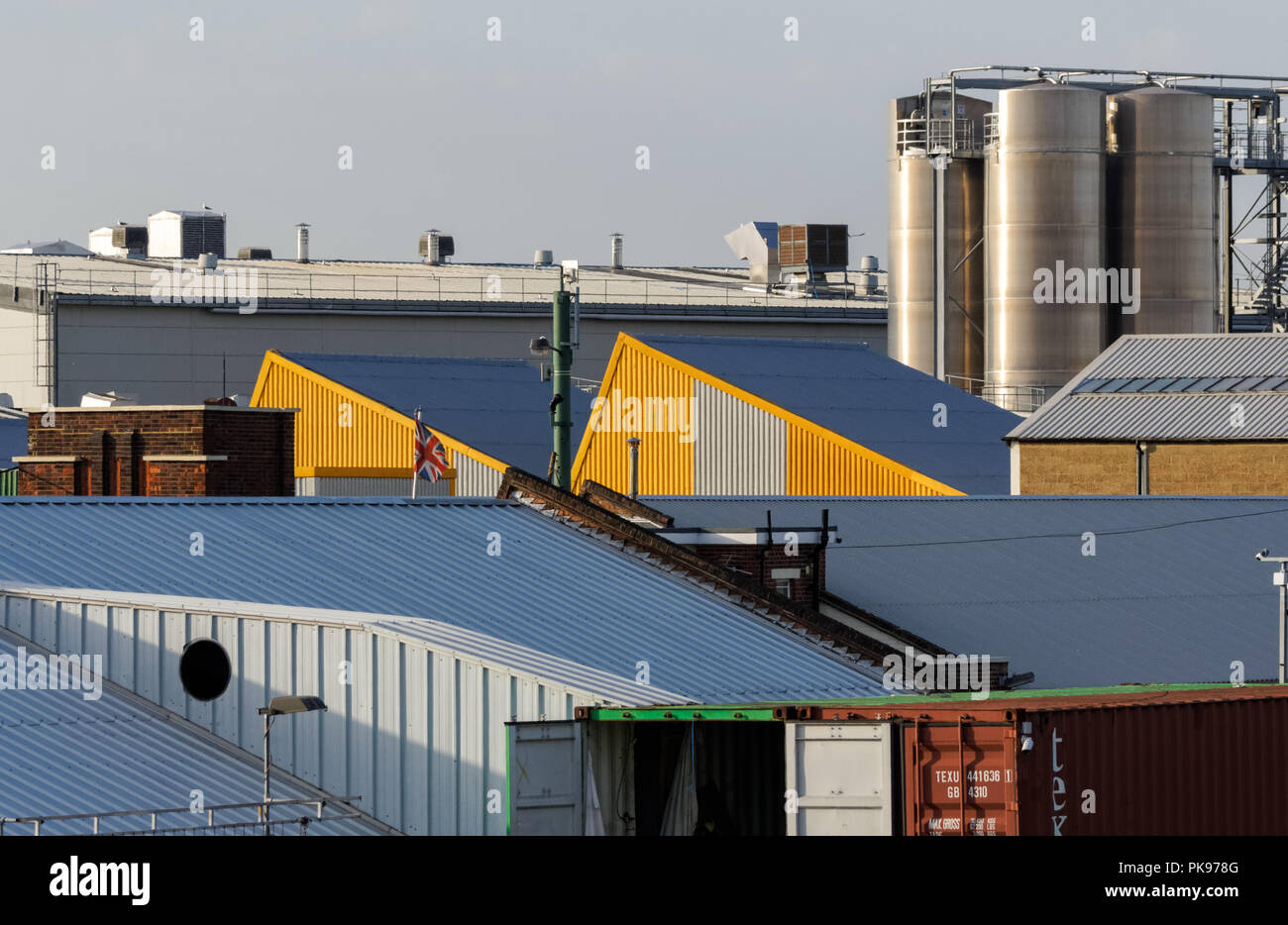 Rooftops of industrial buildings in east London, England United Kingdom UK - Stock Image