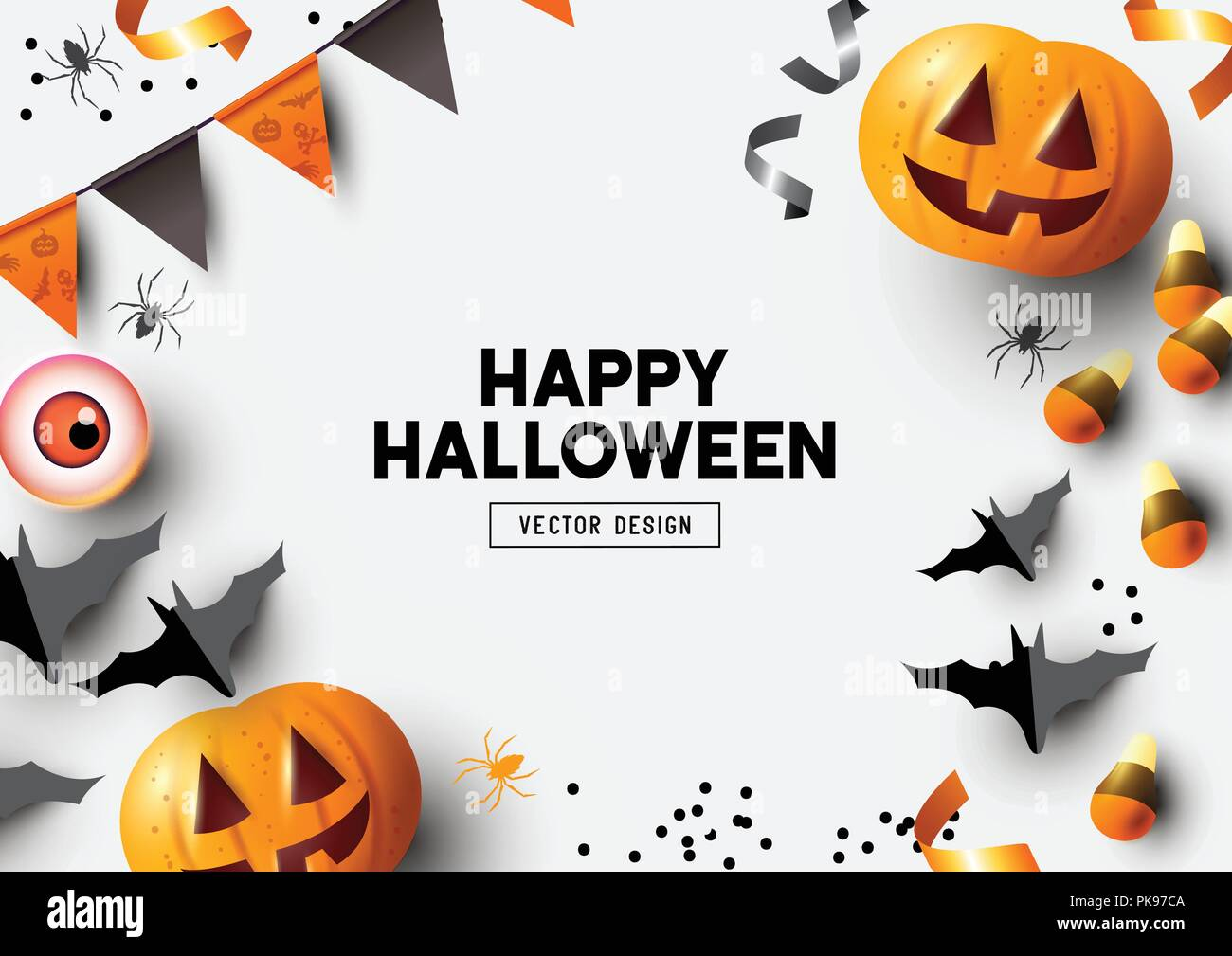 Happy Halloween party label/ invitation Composition with Jack O' Lantern pumpkins, party decorations and sweets on a colorful abstract background. Top - Stock Vector