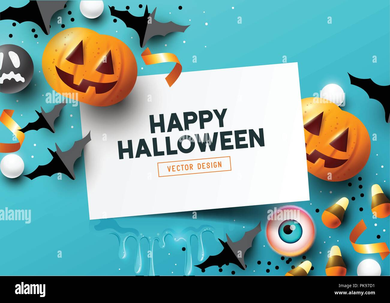 Halloween  party Composition with pumpkins, party decorations and sweets on a blue background. Top view vector illustration. - Stock Vector