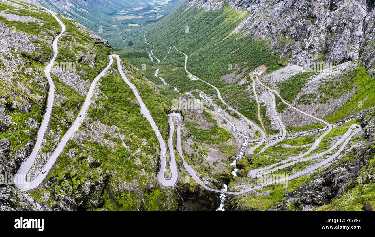 Trollstigen - a serpentine mountain road in Rauma Municipality, Møre og Romsdal county, Norway. - Stock Image