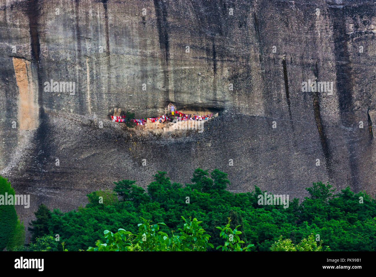 Climber's resting place on the cliff, Meteora, Greece - Stock Image