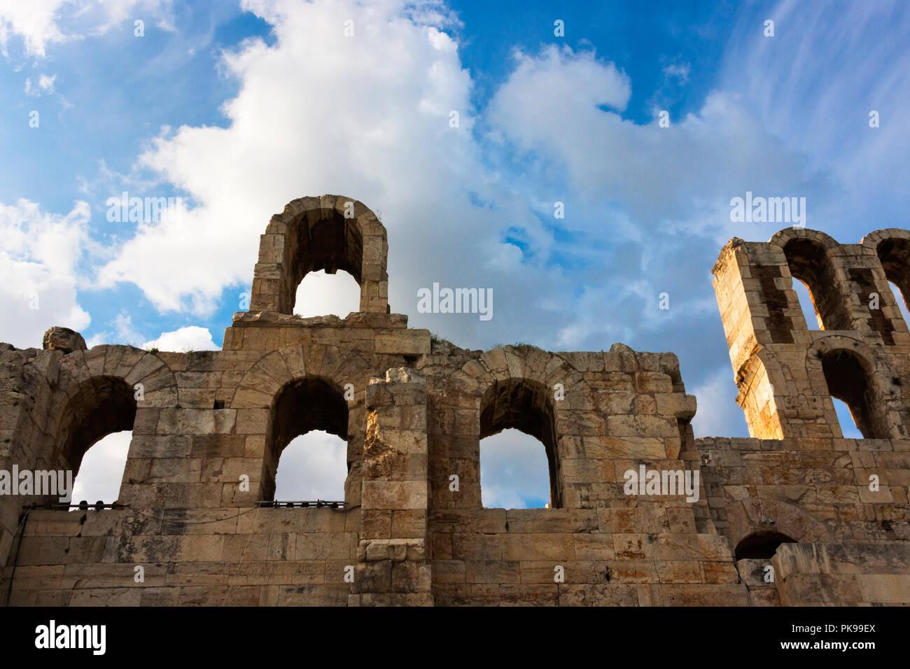 Odeon of Herodes Atticus, Acropolis of Athens, Greece - Stock Image