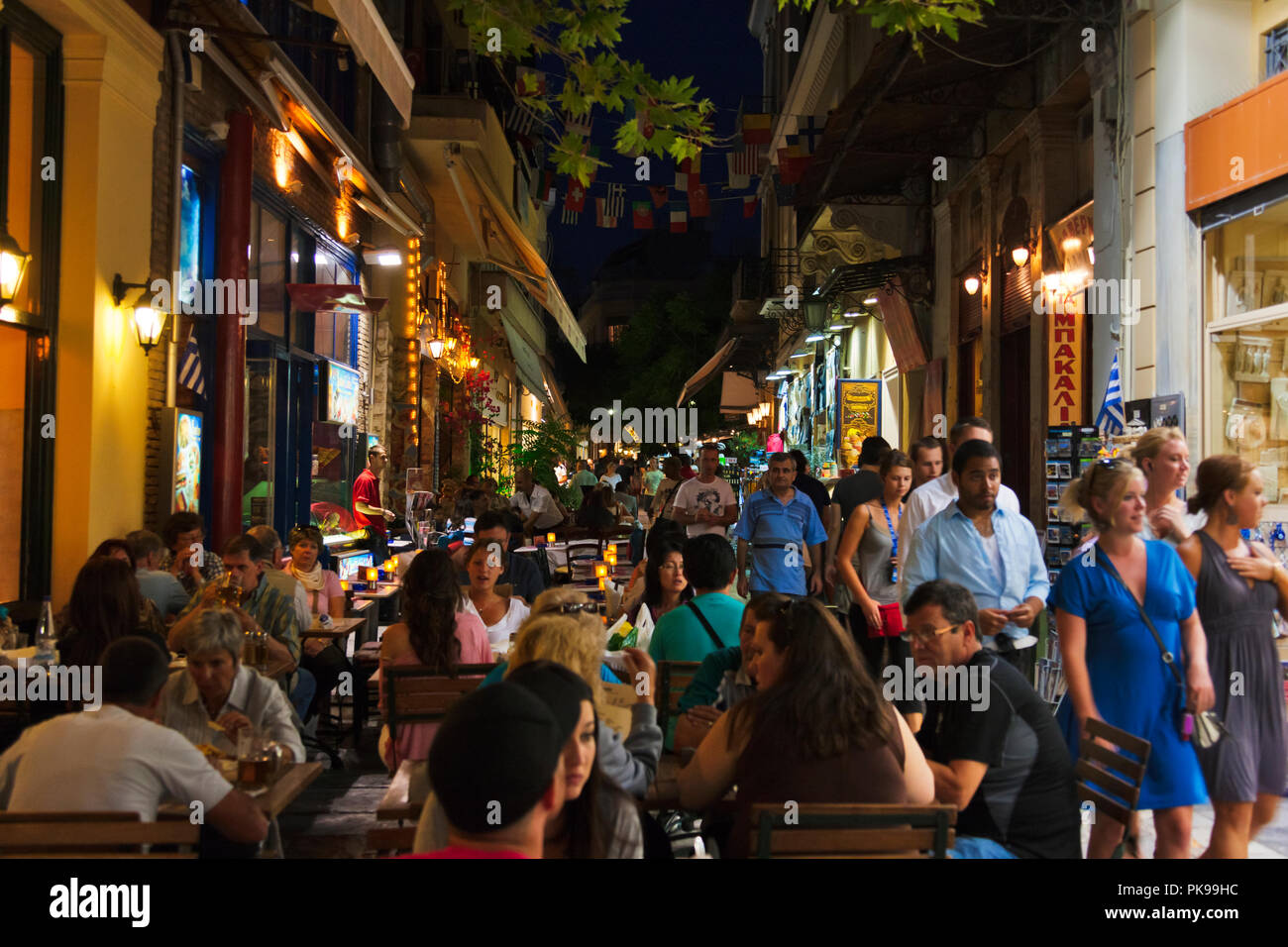 Night view of Plaka district, Athens, Greece - Stock Image