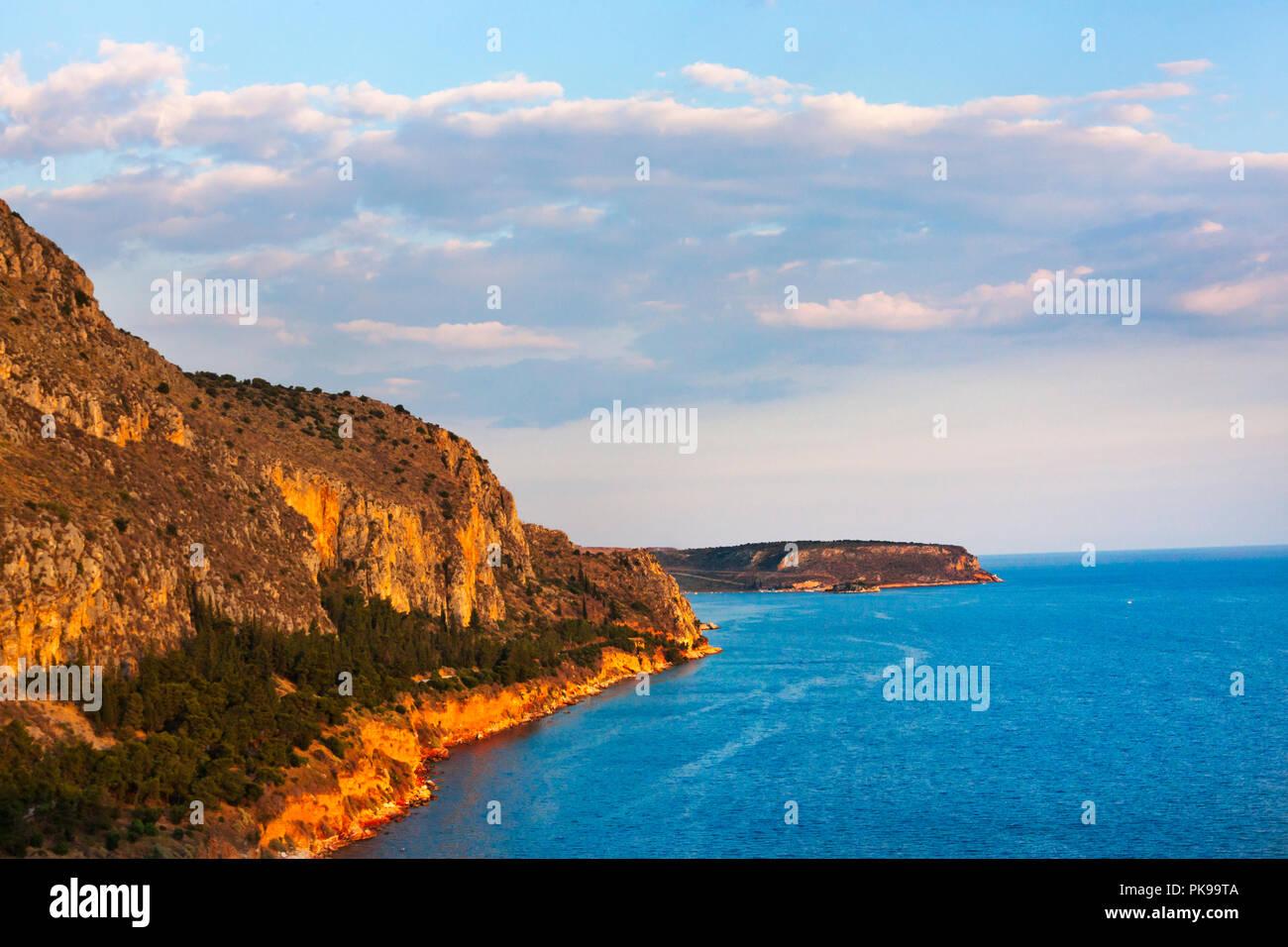 Palamidi Castle by Aegean Sea, Nafplio, Greece - Stock Image