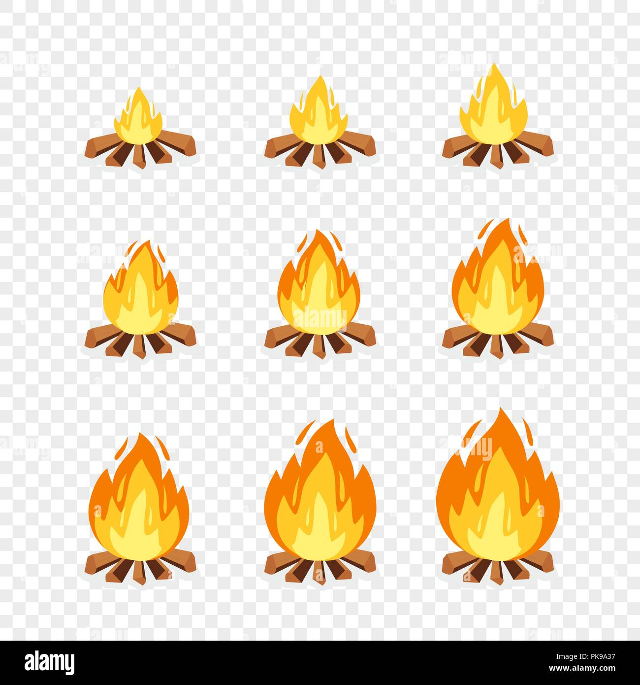 illustration set cartoon blaze fire high resolution stock photography and images alamy https www alamy com set of camp fire sprites for animation vector cartoon illustration bonfire burning frames explosion torch flames campfire for game design on transparent background image218408379 html