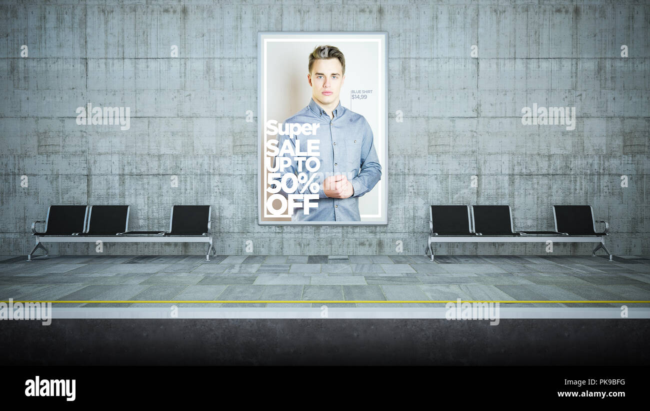 billboard poster fashion advertising on underground station 3d rendering - Stock Image