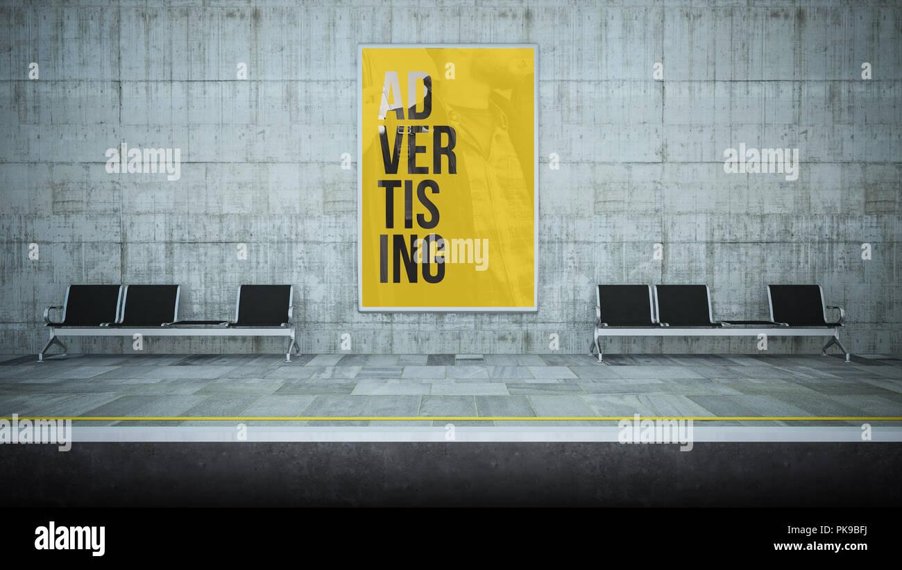 billboard poster advertising on underground station 3d rendering - Stock Image