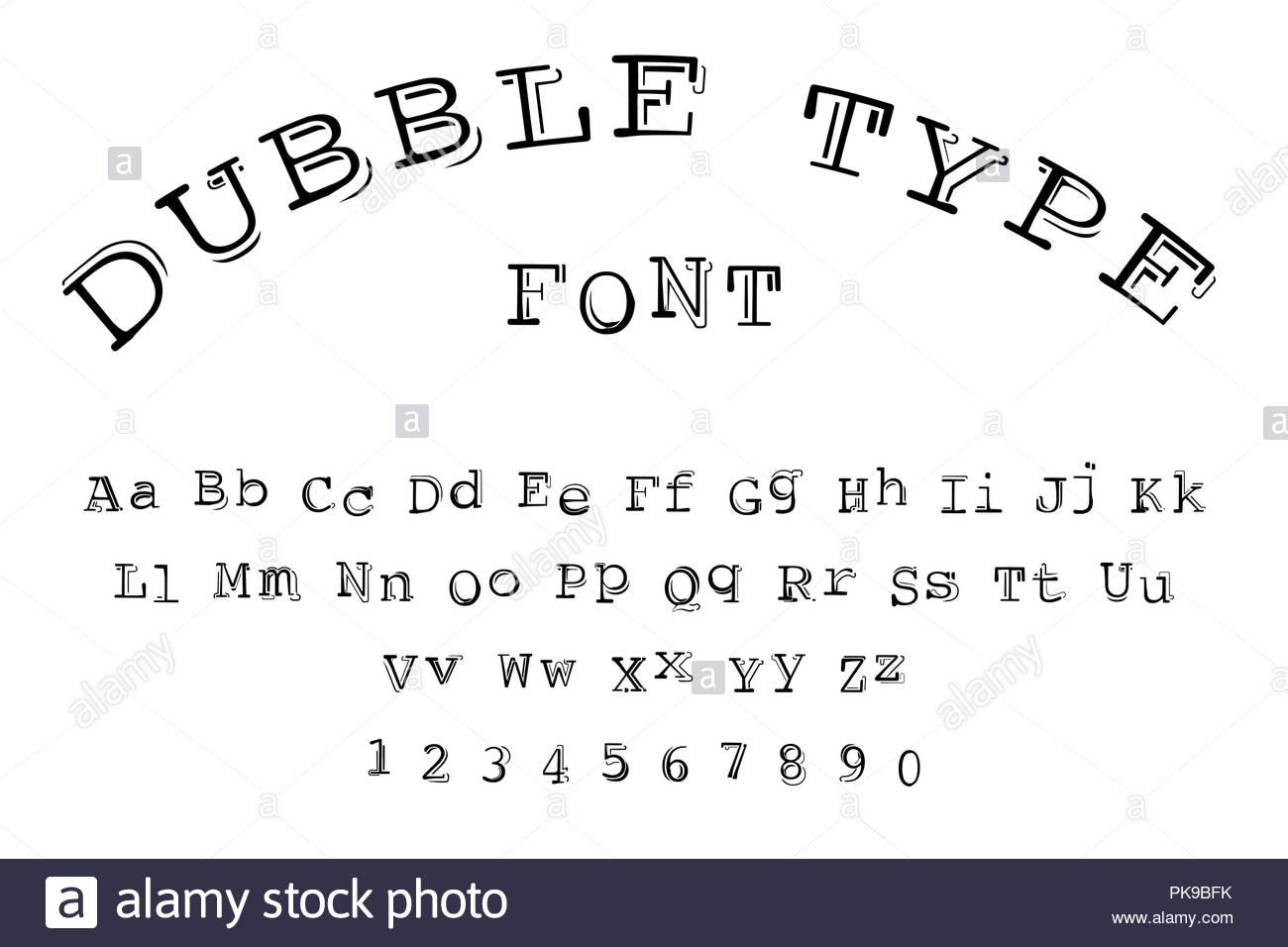 dubble type font - Stock Image