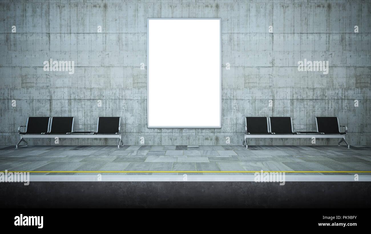 billboard poster on underground station 3d rendering - Stock Image