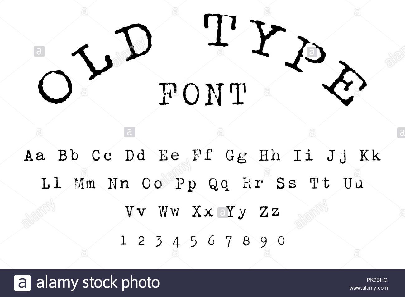 old type font alphabet - Stock Image