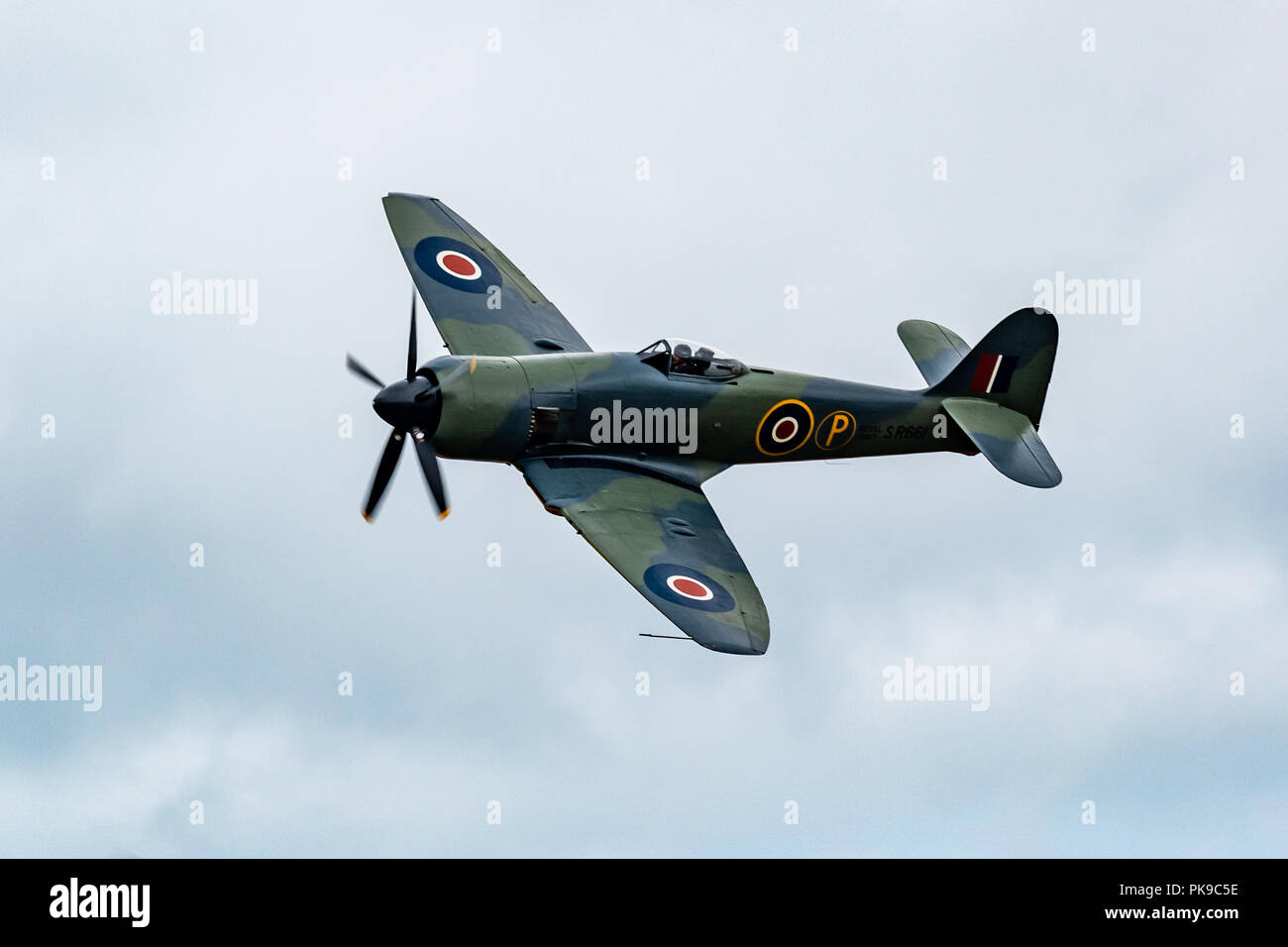 A Hawker Sea Fury carrier borne fighter-bomber of the Fleet Air Arm. One of the fastest piston powered aircraft, seeing service in the Korean war - Stock Image